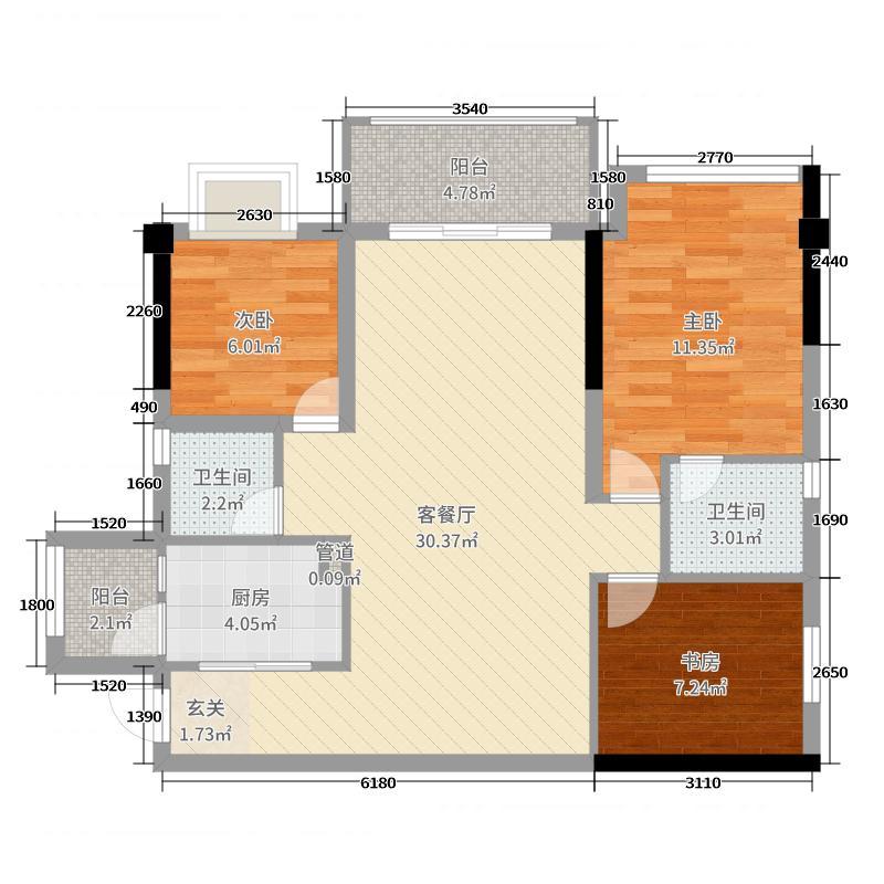 瀚林学府89.00㎡5#01、07户型3室3厅2卫1厨