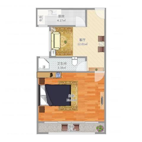 潍坊九村1室1厅1卫1厨51.00㎡户型图