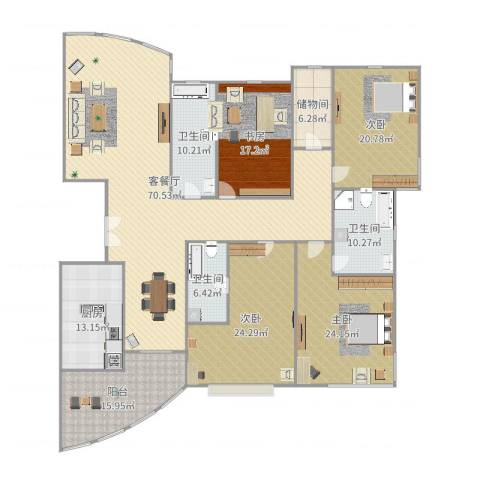 仁恒滨江园4室2厅3卫1厨274.00㎡户型图