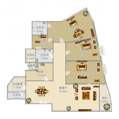 仁恒滨江园4室2厅3卫1厨284.00㎡户型图