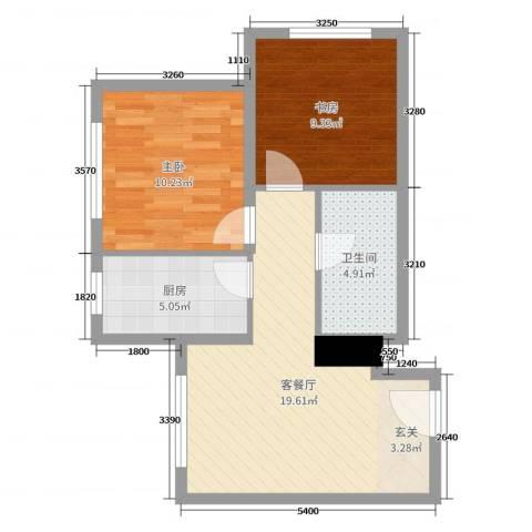 丹东万达广场2室2厅1卫1厨61.00㎡户型图