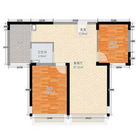 金海名园2室2厅1卫0厨87.00㎡户型图