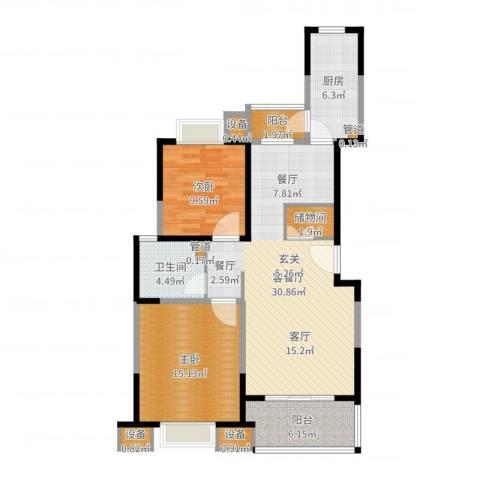 经纬城市绿洲三期观澜泓郡2室2厅1卫1厨99.00㎡户型图