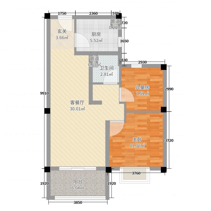 碧桂园世纪城邦80.00㎡一期3#标准层Y190户型2室2厅1卫1厨