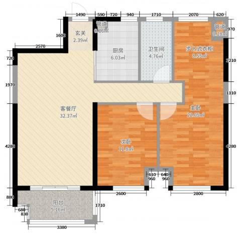 四季金辉2室2厅1卫1厨93.00㎡户型图