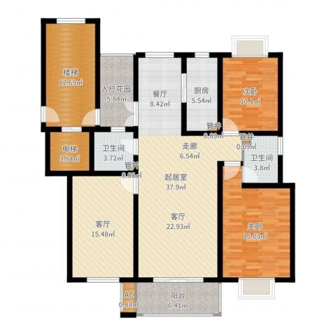 壹度恒园2室1厅2卫1厨122.46㎡户型图