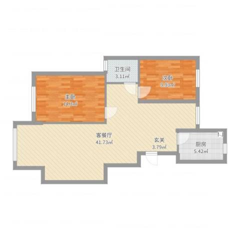 丰县翡翠城2室2厅1卫1厨93.00㎡户型图