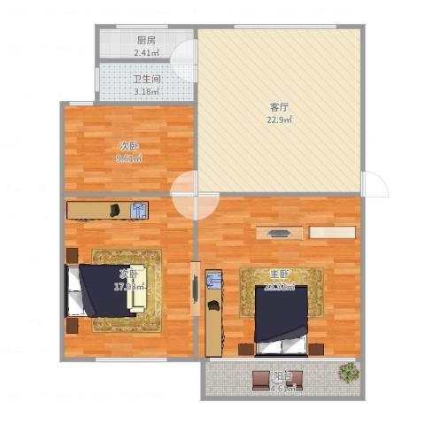 东陆新村六街坊2室2厅1卫1厨104.00㎡户型图