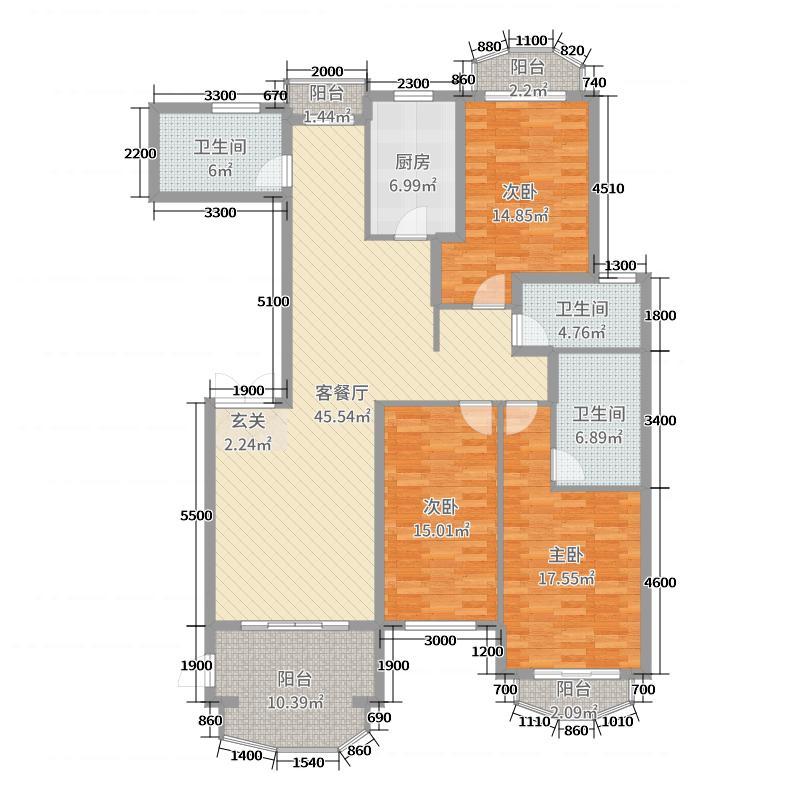 四季上东110.00㎡10号楼B-a户型2室2厅2卫1厨