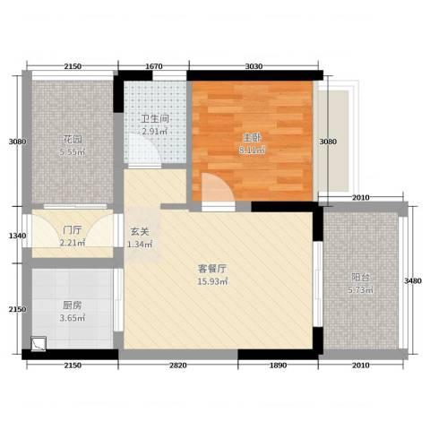 东方海岸1室2厅1卫1厨52.00㎡户型图