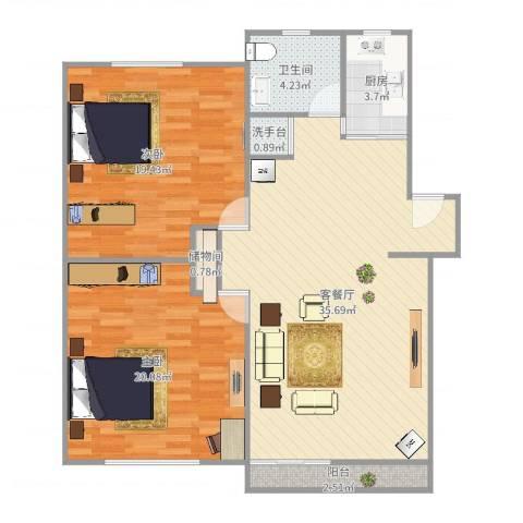 新里城和合苑2室2厅1卫1厨109.00㎡户型图