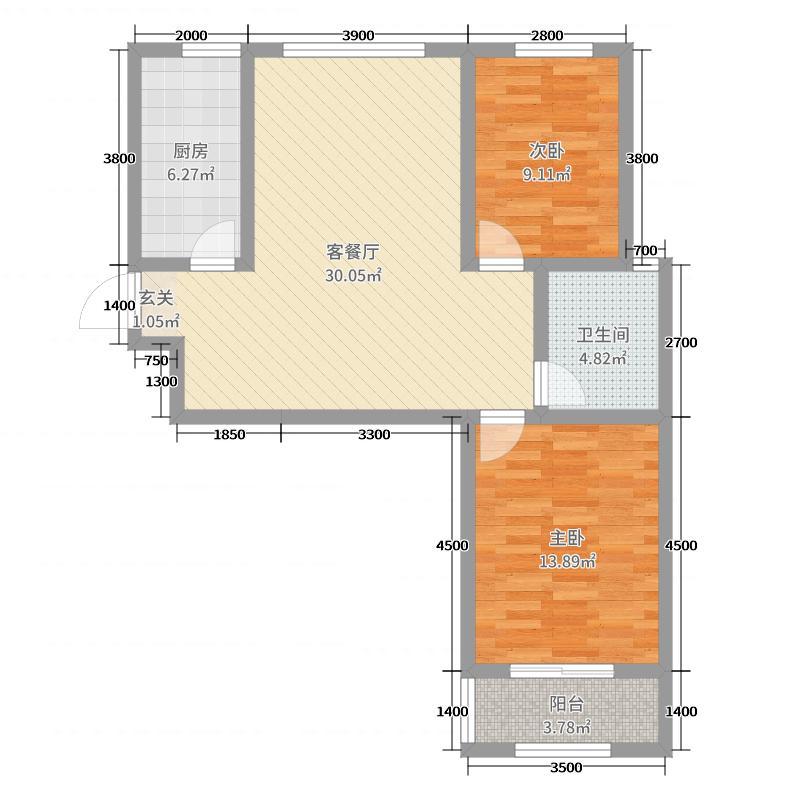东方太阳城92.37㎡6期时光里2#楼户型2室2厅1卫1厨