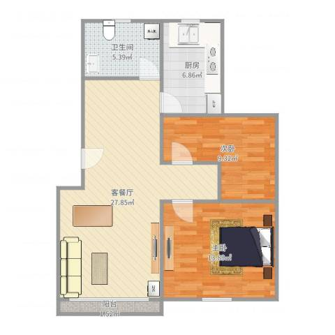 新里城和合苑2室2厅1卫1厨81.00㎡户型图