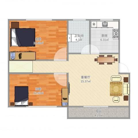 新里城和合苑2室2厅1卫1厨87.00㎡户型图