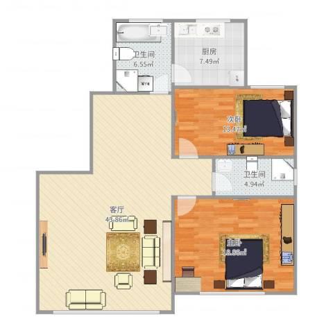 新里城和合苑2室1厅2卫1厨119.00㎡户型图