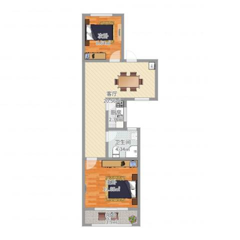 蔷薇二村2室1厅1卫1厨67.00㎡户型图