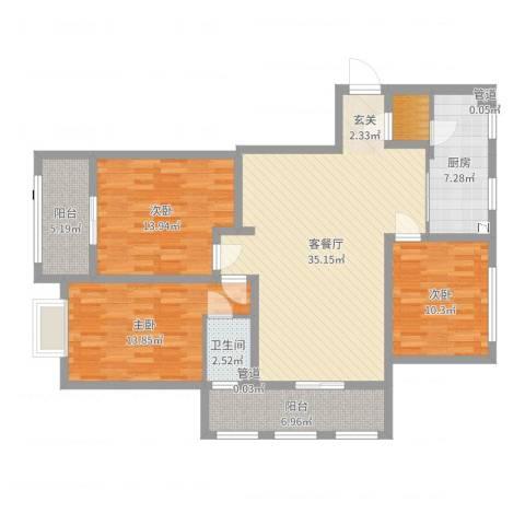 五洲华府3室2厅1卫1厨121.00㎡户型图