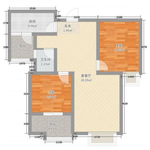 大海鑫庄国际2室2厅1卫1厨90.00㎡户型图
