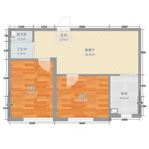 天盛名都2室2厅1卫1厨61.00㎡户型图