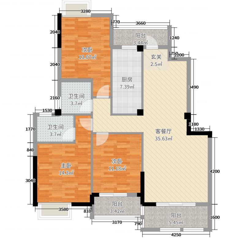 西湖绿洲城126.60㎡C1户型3室3厅2卫