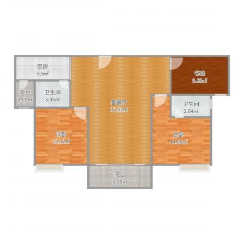领东上筑3室2厅2卫1厨96.00㎡户型图