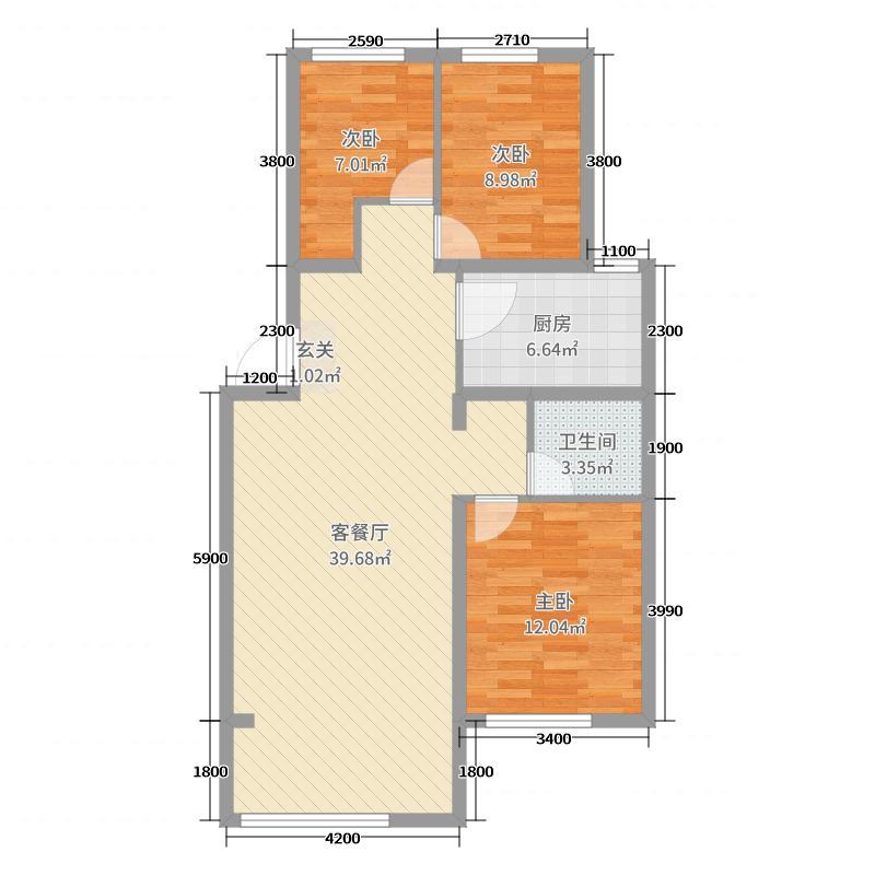 蓝廷花苑96.00㎡C户型3室3厅1卫