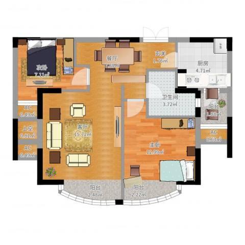 郦城国际2室2厅1卫1厨88.00㎡户型图