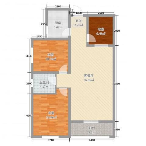法苑小区3室2厅1卫1厨105.00㎡户型图