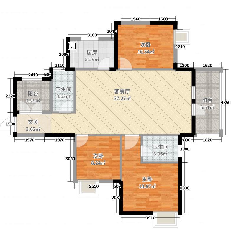 中国铁建・荷塘星城122.48㎡D3户型3室3厅2卫1厨