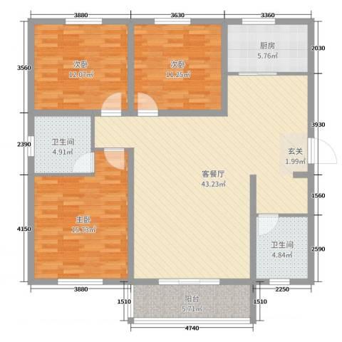 法苑小区3室2厅2卫1厨129.00㎡户型图