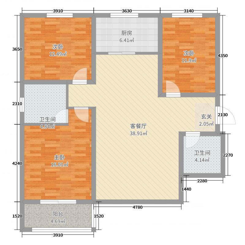 法苑小区124.34㎡B2户型3室3厅2卫