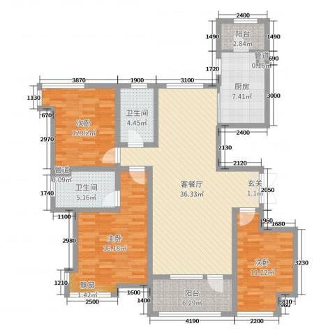 天马相城四期3室2厅2卫1厨142.00㎡户型图