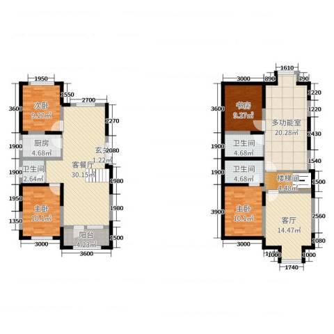 大唐东方盛世4室3厅3卫1厨129.05㎡户型图