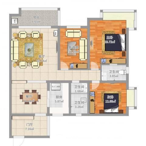 和园小区2室2厅3卫1厨140.00㎡户型图
