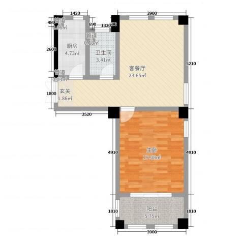 高新钦园1室2厅1卫1厨88.00㎡户型图