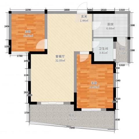 高新钦园2室2厅1卫1厨101.00㎡户型图