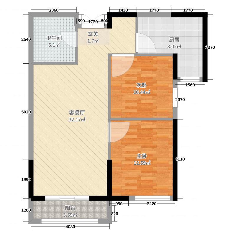 三松宜家89.80㎡P5户型2室2厅1卫1厨