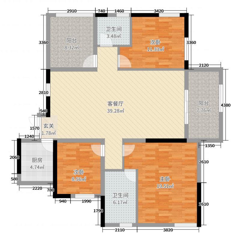 国泰九龙湾142.00㎡F1户型3室3厅2卫1厨