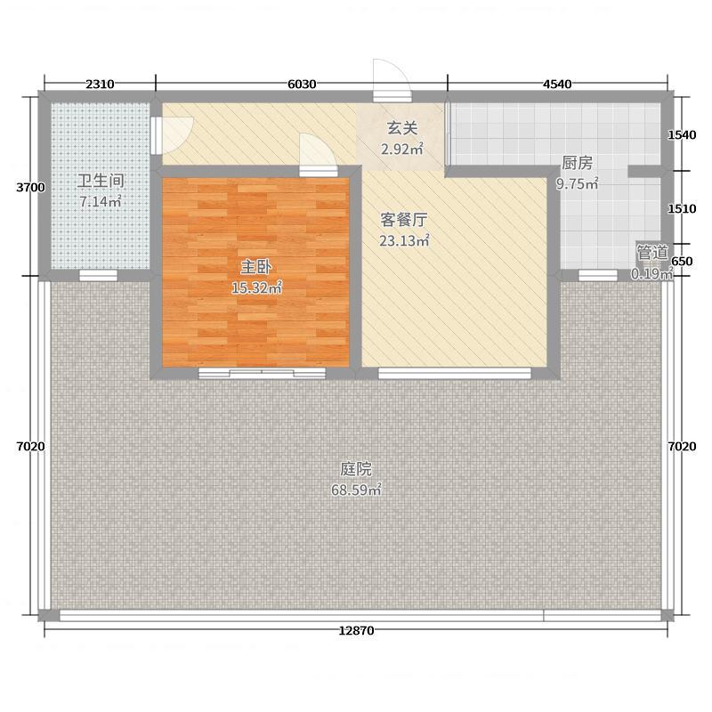碧海尚城69.64㎡K-3一层户型1室1厅1卫1厨