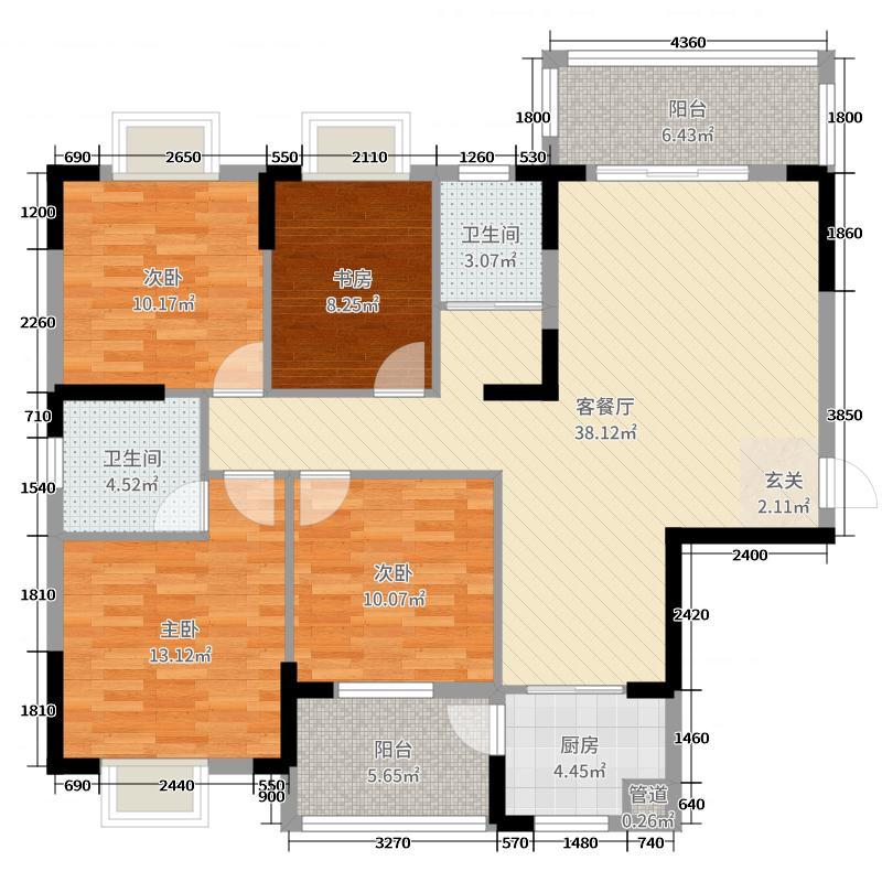 云沙诗意二期136.66㎡235、6号楼G2户型4室4厅2卫1厨