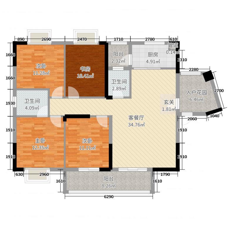 云沙诗意二期137.90㎡7、8号楼E1户型4室4厅2卫1厨