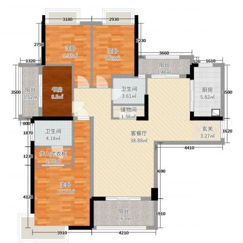 中央香榭4室2厅2卫1厨142.00㎡户型图