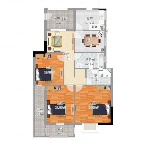 万豪臻品3室2厅2卫1厨118.00㎡户型图