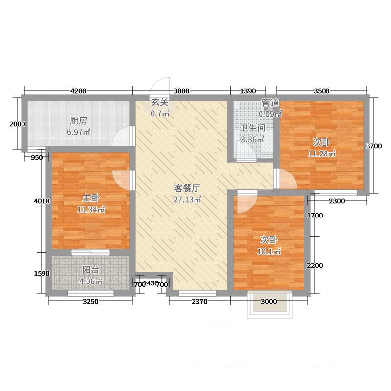 绿朗时光111.83㎡5#C户型3室3厅1卫1厨