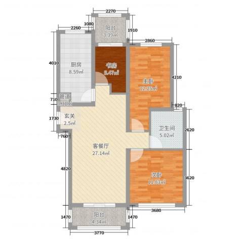 翡翠・公馆3室2厅1卫1厨78.34㎡户型图