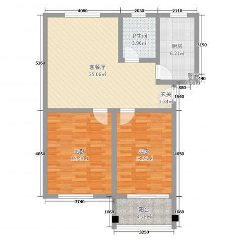 文馨苑小区2室2厅1卫1厨85.00㎡户型图
