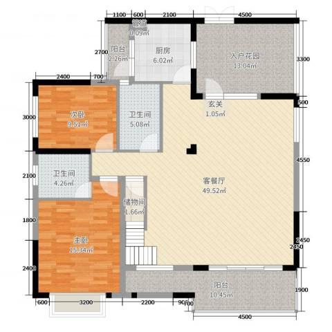 华韵城市海岸二期2室2厅2卫1厨254.00㎡户型图
