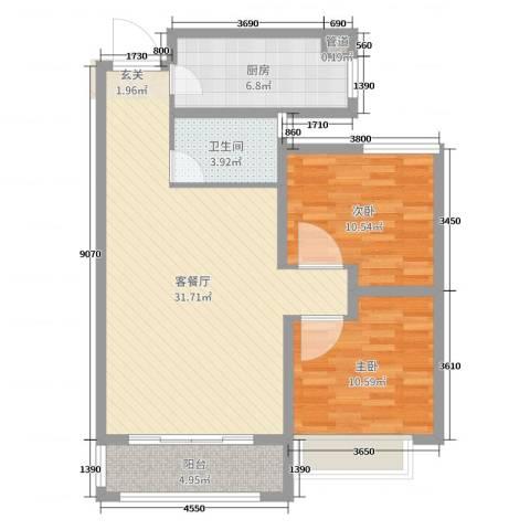 安泰・未来城2室2厅1卫1厨85.00㎡户型图