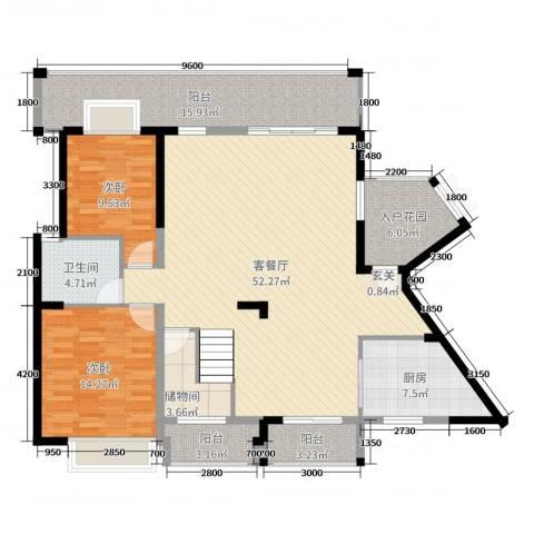 华韵城市海岸二期2室2厅1卫1厨254.00㎡户型图