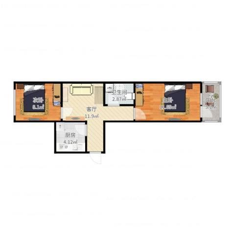 荣芳里3-3-7062室1厅1卫1厨52.00㎡户型图